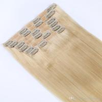 Sıcak On Satış! Stok teklif # 1 # 12 # 8 # 613% 100 insan saçı kalınlığındaki uçları saç uzantılarında 18inches 80g klip sınırlı arz