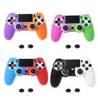 100шт двухцветный Мягкая силиконовая кожа Обложка чехол для Playstation 4 PS4 Pro Тонкий контроллер коробки + Thumb ручки Захваты колпачков