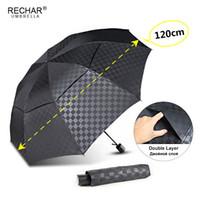Çift Katmanlı Koyu Izgara Büyük Şemsiye Yağmur Kadınlar 3 Folding 10RIB Rüzgar Geçirmez Iş Erkek Şemsiye Seyahat Aile Paraguas Parasol T200117