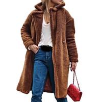 Moda Mulheres Teddy Faux Pele Casacos Inverno Quente Fluxo Long Casacos Overcoat Feminino Lapela Loxo Casacos Long Cardigan Outerwear