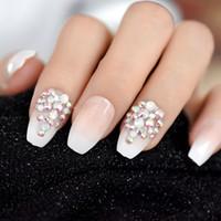 3D Bling del brillo del rosa desnuda francesa bailarina Ataúd Falso Falso Uñas Gradeint Natrual de prensa en el dedo desgaste de la oficina Diaria UV Nails