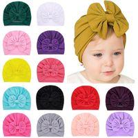 15 الألوان الجديدة الطفل القبعات القبعات مع الديكور عقدة الاطفال الفتيات الشعر العمامة العقدة رئيس الأغطية أطفال الأطفال شتاء ربيع قبعة صغيرة