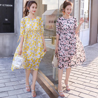 Flower Print Chiffon Maternity Dress Summer Fashion Clothes ...