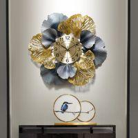 홈 데코 벽 시계 새로운 중국어 단조 철빈 잎 장식 시계 교수형 공예 거실 벽화 장식 예술