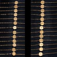 Vente chaude Date Plaqué Or A-Z Lettre Pendentif Bracelet Bracelet Chevilles Couple Bijoux Cadeaux De Fête De Noël Accessoires