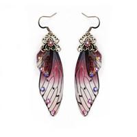 Мода ручной работы Femme крыла падение серьги цвета золота Сказочные Цикада крылья серьги Rhinestone фиолетовый серьги Vintage ювелирные подарки