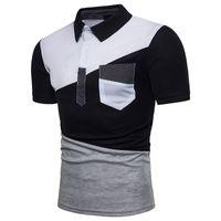 Herren T-shirts Homme Unregelmäßige Gelenkfarbe Matching Stehkragen Baumwolle Atmungsaktiv bequem, um Kurzarm Hemd Herren zu tragen