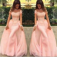 2020 Charming Evening Dresses Full Lace Detachable Train Sho...
