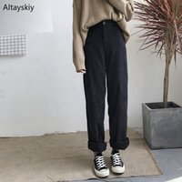 Pants Women Loose Solid Corduroy 2020 Trousers Korean Style ...