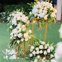 Flower Stand Wedding Centerpieces stage backdrops aisle walkway Floor Vases Flowers Vase Metal Pillar Road Lead photo prop metal Rack vases