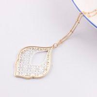 2020 New Gold filigrana Marocco Teardrop collana per le donne Two Tone geometrica Dichiarazione lunga collana di gioielli