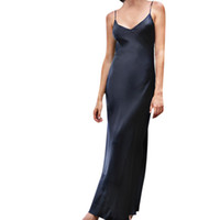 82757ea4912 Sommer Fashion Party Kleid Frauen Solide Sleeveless Backless Offene Gabel  Langen Riemen Slip Formale Kleidung Lange Kleidung 2019
