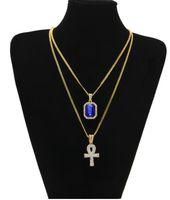 Новый дизайнер египетский АНК Ключ Жизни Bling горный хрусталь крест кулон с красным рубином кулон ожерелье набор мужчин хип-хоп ювелирные изделия