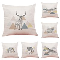 Sketch Animal Linen Cushion Cover Home Office Sofa Square Pi...