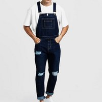 Trous de mode pour hommes Distressed Slim Fit Jeans 2019 New Mens Denim Bib Overall Combinaisons Casual Straight Loose Jeans