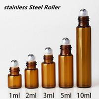 1ml 2ml 3ml 5ml 10ml Amber Merdane Şişeler Metal topları ile Mini Esansiyel Yağı Şişeleri Döner Başlı 600pcs sürü