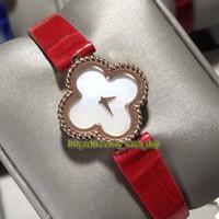 VAF 18K Rose Gold vierblättriges Kleeblatt-Fall Süße Alhambra VCARO8WT00 Sapphire Perlmutt-Zifferblatt Schweizer Quarz-Frauen-Uhr Mode-Uhren