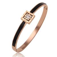 designer jewelry titanium steel bracelets square black rose gold color bangles classic for women hot fashion