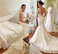 Backless Wedding Dresses Mermaid V Neck Lace Long Garden Bri...