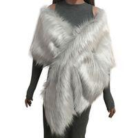 Gros-Manteau en fausse fourrure femmes ponchos et capes de mariée Châle Cape Fluffy Gilet Manteaux femmes Abrigo Mujer Nouveau Manteaux d'hiver Fourrure