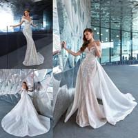 2020 neue Spitze Meerjungfrau Brautkleider mit abnehmbarer Zug plus Größe Brautkleider Applikationen Perlen Illusion Luxus Brautkleider BC2904