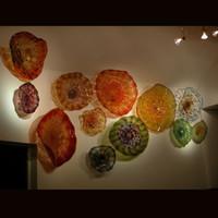 Оптовая выдувного Glass Art Wall Тарелка Hotel Room Decoration ручного УБИРАЕМОЙ боросиликатное стекло стена Плита