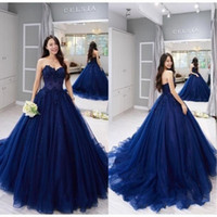 2019 New Ball Gown Navy Quinceanera Abiti Vintage Lace Applique Ball Gown Formal Sweet 15 abiti da festa