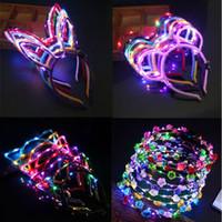 10 Pcs / set Wholy Luminescence Headdress Cat Ear Nabit Eared Hair Band With LED Flash Birth Girl Hadbands Toys