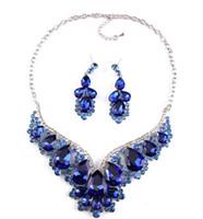 Couleurs scintillantes Bijoux en cristaux bleus 2 pièces Ensembles Collier Boucles d'oreilles Bijoux de mariée Accessoires de mariée Bijoux de mariage T301464