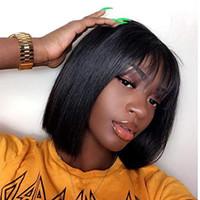 13X6 شريط جبهة لمة 150٪ الكثافة الدوي الهواء اللون الطبيعي قصيرة بوب الباروكات البرازيلي 100٪ الانسان الشعر للنساء