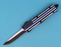 핫 세일 블루 플래그 7 인치 616 미니 자동 전술 칼 440C 단일 에지 드롭 포인트 파인 블랙 블레이드 EDC 포켓 나이프