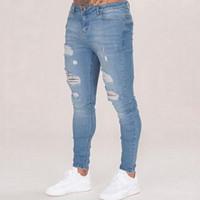 اوراز رجالي بلون جينز 2019 جديد أزياء سليم سروال رصاص مثير ثقب عارضة ممزق تصميم الشارع الشهير MX190718