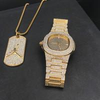 Ouro de luxo hip hop jóias elegante relógio Colar Combo Set Assista Homens hip hop Ice cadeia colar Fora cubano relógio para homens