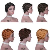 Olea oceándose una peluca de pelo humano indio de Ocean Maquilla barata hecha pixie corte dedo onda desplegable pelucas de bob sin glóvía para mujeres negras # 1b # 2 # 4 # 27 # 30 # 99jj