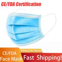 Em estoque! Máscara facial descartável 50 pcs Proteção de 3 camadas e saúde pessoal com a boca lópoop sanitária