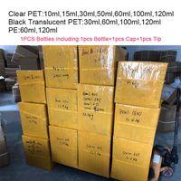 Botellas vacías 15 ml 30 ml 50 ml 60 ml 100 ml 120 ml 120 ml Botellas de plástico PET para E Jugo Vacío Larga a prueba de niños Gotero Suplemento para embalaje Botella de grasa