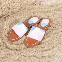 에스 플랫 뮬 여성 캔버스 슬라이드 구두 브랜드 특허 모노그램 샌들 디자이너 신발 여름 숙녀 패션 비치 EU35-42를 플립 플롭