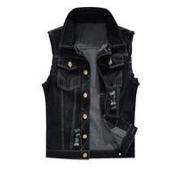 MoneRffi Cotton Jeans Weste Vest Men Plus Size 6XL Black Denim Jeans-Weste Männlich Cowboy Im Freien Weste Männer Jacke S191019