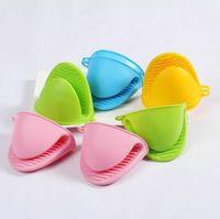 Cocina de silicona calor guantes resistentes a los clips de aislamiento antiadherente antideslizante Pot Holder Clip cocinar utensilios de cocina de los mitones del horno de cocina