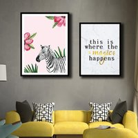Nordic Zebra And Quotes Pictures Modern Style Watercolor Flo...