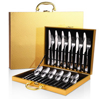 Luxo de aço inoxidável Faqueiro 24pcs / conjunto de talheres cor de ouro faca garfo colher Louça Cozinha Louça Talheres conjunto de caixa de presente de madeira