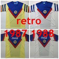 1987 1988 Retro Mexico Club America Home Yellow Soccer Jerseys 87 88 America America White Classic Retro Football Commet