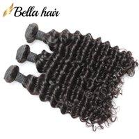 Wet indien et onduleux vague profonde Trame de cheveux Extension Weave Cheveux naturels Couleur 3pcs / lot complet cuticules Livraison gratuite Bellahair