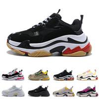 남성 여성 블랙 레드 화이트 트리플의 캐주얼 아빠 신발 테니스 증가 신발 36-45에 대한 2019 저렴한 디자이너 파리 17FW 배의 스니커즈