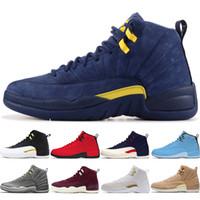 05897778ff60 12 12s hombres zapatos de baloncesto Michigan Bulls College Navy UNC NYC  Vachetta Tan trigo gris