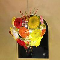 Lámpara de murano lámpara de vidrio luces de luces sala de estar decoración casera lámpara lámpara lámparas 52 pulgadas LED 110-240V cadena soplada a mano lámparas colgantes