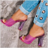 Women Slippers Purple yellow PVC Crystal Square heel Transpa...