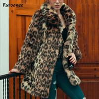 2019 donne lunghi leopardo finto pelliccia pelliccia inverno caldo peloso visone viso tasca cappotto tascabile elegante giacca di pelliccia allentata femminile di lusso