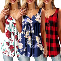 Women's fashion Camisole Tank Tops floral Plaid print button top Tee Shirt Summer casual loose v neck Ladies Sleeveless tops D30