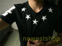 حار بيع العلامة التجارية العلامة الملابس الرجال الأبيض خمسة أشار ستار ستار قطيع الطباعة تي شيرت أزياء القمصان مصمم القمصان camiseta قمم المحملة